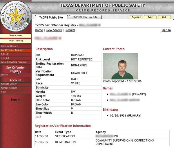 SEX OFFENDER SITE OF THE STATE OF TEXAS
